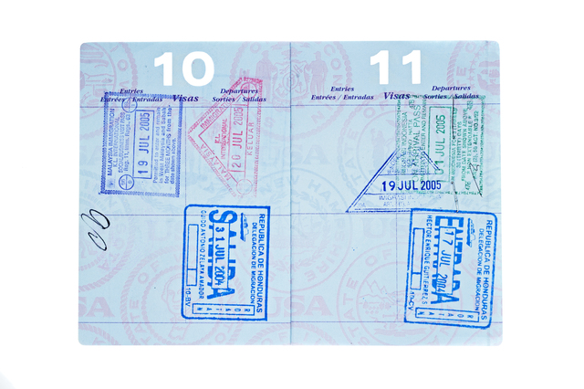A used passport with visa stamps